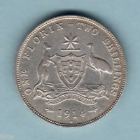 Australia. 1914-H Florin..Trace Lustre & Full Centre Diamond.  VF/aVF  -  SCARCE