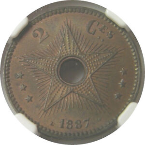 elfj Congo Free State 2 Centimes 1887  Star  NGC MS 64 BN