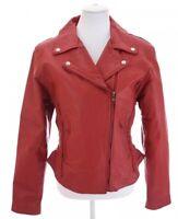 Unik Premium Womens Red Leather Coat Studded Moto Peplum Jacket Braid Lined Sz L