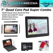 """MicroMediaTECH-7"""" QuadCore 16G Pad w Keybd Case Bundle-32G microSD-16G USB Flash"""