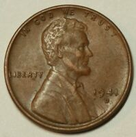 1941 D Lincoln Wheat Cent Extra Fine XF Condition US Coin