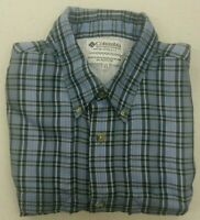COLUMBIA Mens Performance Fishing Gear S/S Button Down Shirt Size XL Blue Plaid