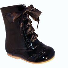 Sevva Baby Girls Isabelle Spanish Romany Style Black Ribbon Lace Patent Boots