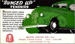 Postcard Watts Motor Company Auto Repair in Huntington, West Virginia~138950
