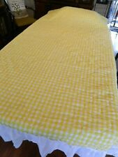 Vintage Twin Size Bedspread Coverlet Yellow And White Check Pattern White Ruffle
