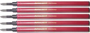 5 Pack - HAUSER 777 Rollerball Pen Refill - Black Fine Point - New