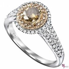 1 Carat Fancy Champagne Round Cut Diamond Engagement Ring Double Halo 14k Gold