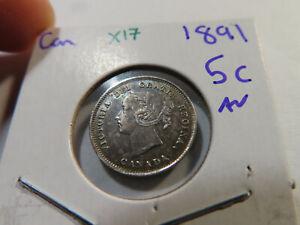 X17 Canada 1891 5 Cent AU