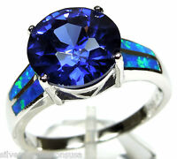 4.5 Ct Tanzanite & Blue Fire Opal Inlay 925 Sterling Silver Ring Size 6,7,8,9