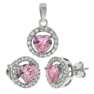 925 Sterling Silver Pink Ruby Stimulated Cubic Zirconia Earring and Pendant Set