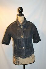 Route 66 Denim Jacket Women Medium Crop Gathered Pleats Short Sleeve