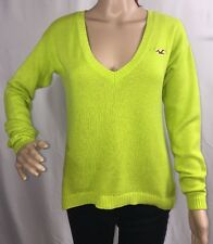 Hollister Sweater Small Neon Green V-Neck Thin Knit Cotton Blend Sexy Style