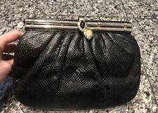 Judith Leiber Black Lizard Clutch Bag