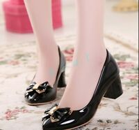 Ladies Womens Sandals Causal Bowknot High Heels Pumps US Size Court Shoes