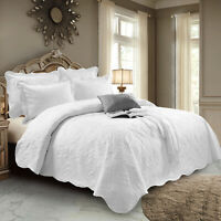 3 Piece Quilted White Cotton Bedspread Bed Throw Single Double King Bedding Set