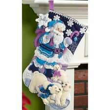 "Arctic Santa Stocking Felt Applique Kit 18"" Long 046109866536"