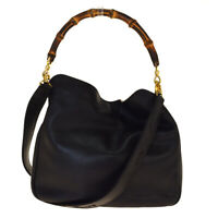 Authentic GUCCI Bamboo 2way Shoulder Hand bag Leather Black Gold Italy 08BM077