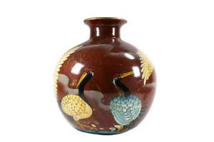 Large Interesting Pottery Vase Japanese Aesthetic Stork Decorated