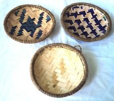 3 decorative round baskets for hanging