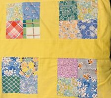 Vintage 4 Square Quilt Top & 1930s/40s Floral Cotton Fabric 40�x70� with Backing