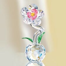 """Faceted Crystal Petaled & Pink Flower Figurine new in box 4-3/4"""" H Sale"""