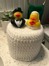 Handmade Fun Toilet Paper Roll Cover Crocheted Bride n Groom white bathroom deco
