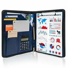 Business Zippered Portfolio Padfolio Pu Leather Folder Interview Resume Blue
