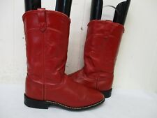 Acme Red Leather Roper Cowboy Boots Womens Size 7 M Style 18009 USA