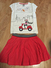 NWT Gymboree Ciao Puppy Red Pleated Skirt Girl on Scooter Top Shirt 6
