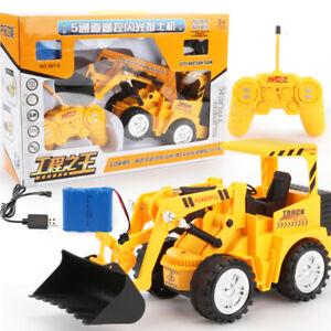 RC Excavator Shovel Remote Control Construction Bulldozer Truck Toy Light Gift