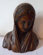 Buste : vierge en bois sculpté - art populaire - L Tessey - Reims