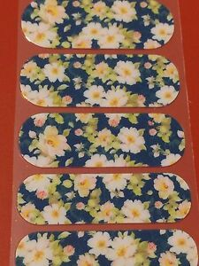 Jamberry Half Sheet - Twilight Blossoms - Retired VHTF White Blooms on Blue