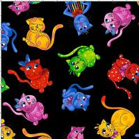 Loralie Designs Cool Cats Tossed on Black BG Fabric Cotton # 691-792 - 2/3 Yard