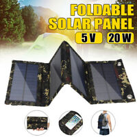Portable Solar Panel USB 4 Folding Phone Power Charger Panels For Camping 20W