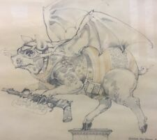 "Robert A. Nelson Pencil Drawing ""General Pig Series 2"" Minnesota Summer 1969"