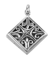Sterling Silver Filigree Diamond Shaped Locket - Aromatherapy Locket