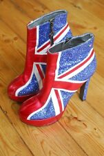 Rare Ladies Red or Dead Sequin Platform Union Jack High Heels EU 40 UK 6