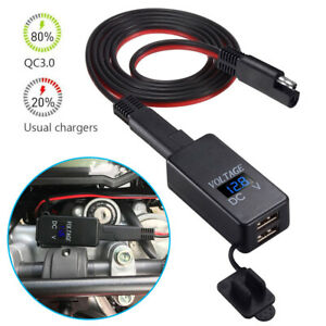 12V Motorcycle SAE to USB Dual Port Charger Voltmeter Cable Adapter Waterproof