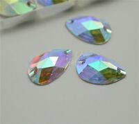 Crystal Acrylic AB Drop Rhinestone Applique Flatback Clothes craft Sew On 100pcs