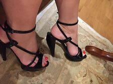 BURBERRY PATENT LEATHER BLACK HIGH HEELS WITH PLATFORM SIZE 37.5