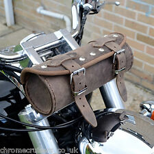 MOTORCYCLE BROWN LEATHER TOOL ROLL BAG HARLEY DAVIDSON SOFTAIL FAT BOY DYNA