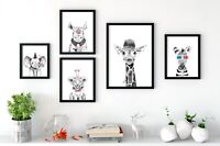 Baby Party Animal Nursery Prints Wall Art, Peekaboo Animals With Funny Props