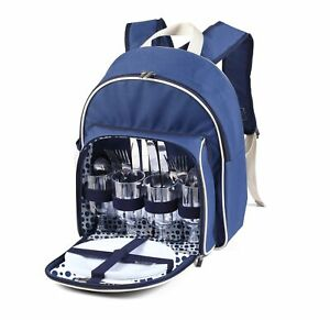 Luxury 4 Person Picnic Backpack Hamper Rucksack, Cutlery Included & Cooler Comp.