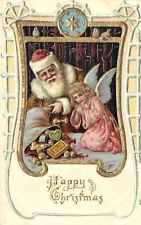 Santa Claus in Brown Coat with an Angel and Presents, Christmas, Old Embossed Pc