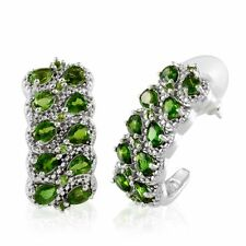 Russian CHROME DIOPSIDE , White DIAMOND J-Hoop EARRINGS - Plat / Sterling Silver