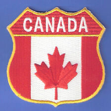 BRAND NEW CANADA CANADIAN FLAG MAPLE LEAF SHIELD IRON ON PATCH