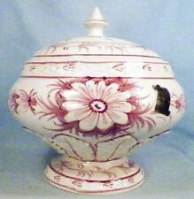 Nora Fenton Import Italy Covered Compote Candy Dish Mauve Flowers w Label