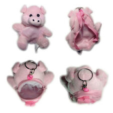 "Plush Keychain Keyring Zippered Coin Pouch Bag Farm Animal Pig Pink 6"" NEW"