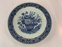 Vtg Delfts Large Blue Plate Boch Belgium for Royal Sphinx w/ Floral Basket Dec.