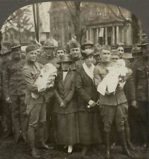 Happy Reunion for Home-Coming U.S. Soldier Fathers. WW1 Stereoview